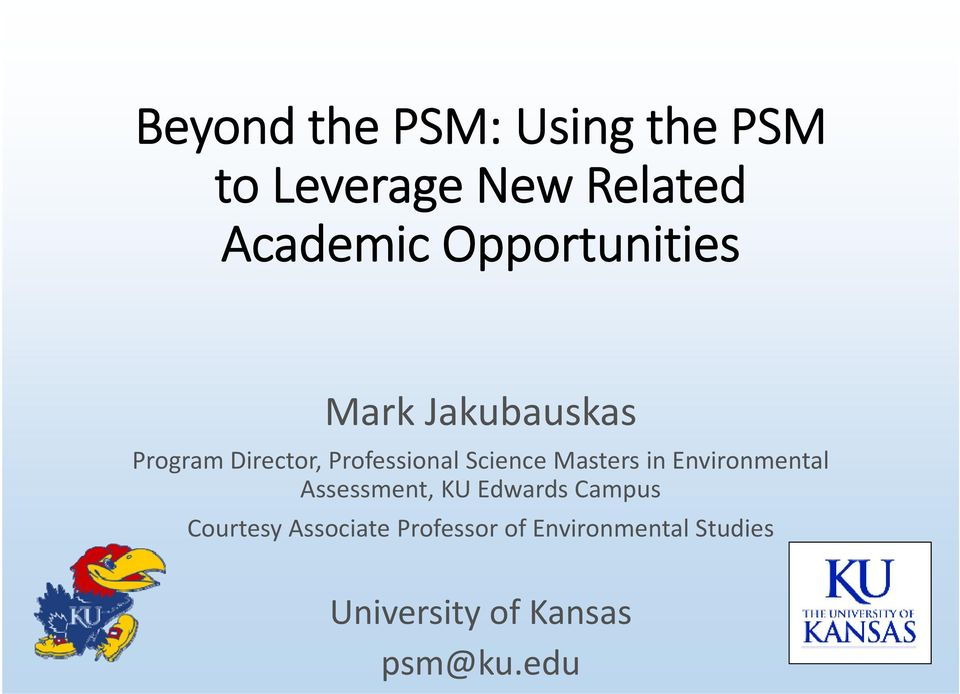 Science Masters in Environmental Assessment, KU Edwards Campus