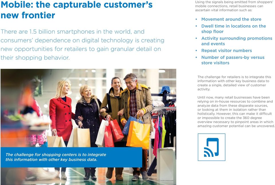 Using the signals being emitted from shoppers mobile connections, retail businesses can ascertain vital information such as: Movement around the store Dwell time in locations on the shop floor