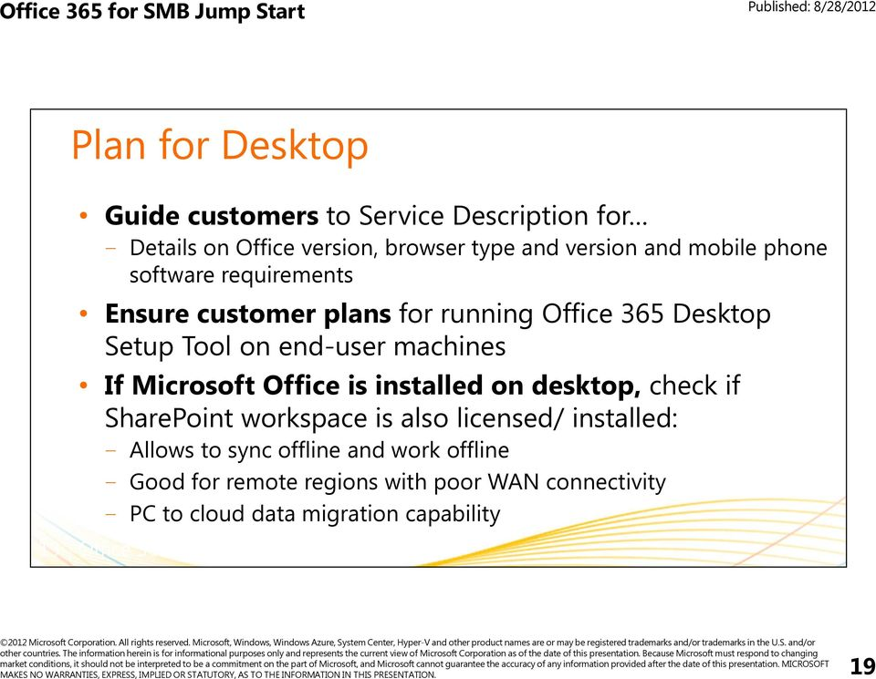 Office is installed on desktop, check if SharePoint workspace is also licensed/ installed: Allows to sync offline and work