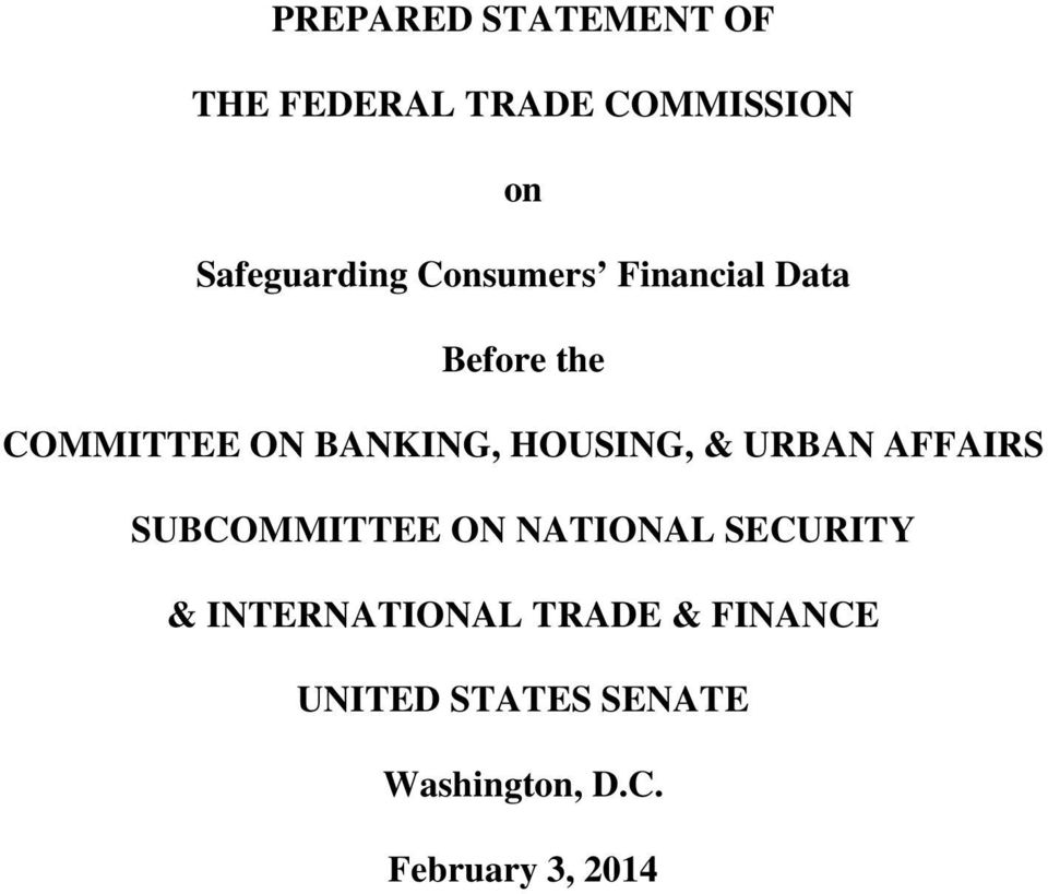 & URBAN AFFAIRS SUBCOMMITTEE ON NATIONAL SECURITY & INTERNATIONAL