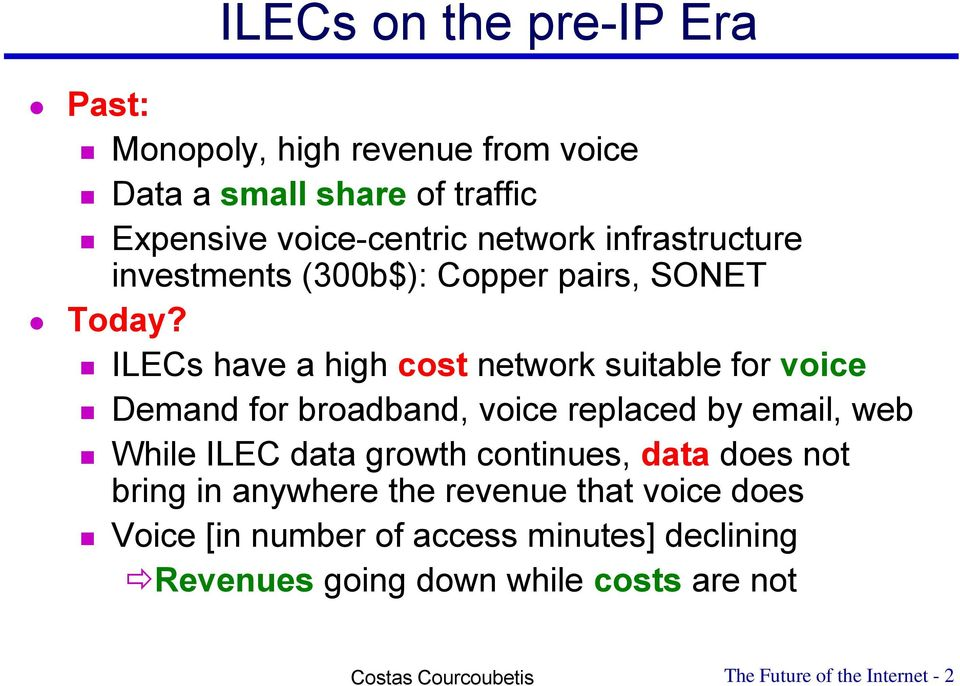 ILECs have a high cost network suitable for voice Demand for broadband, voice replaced by email, web While ILEC data growth