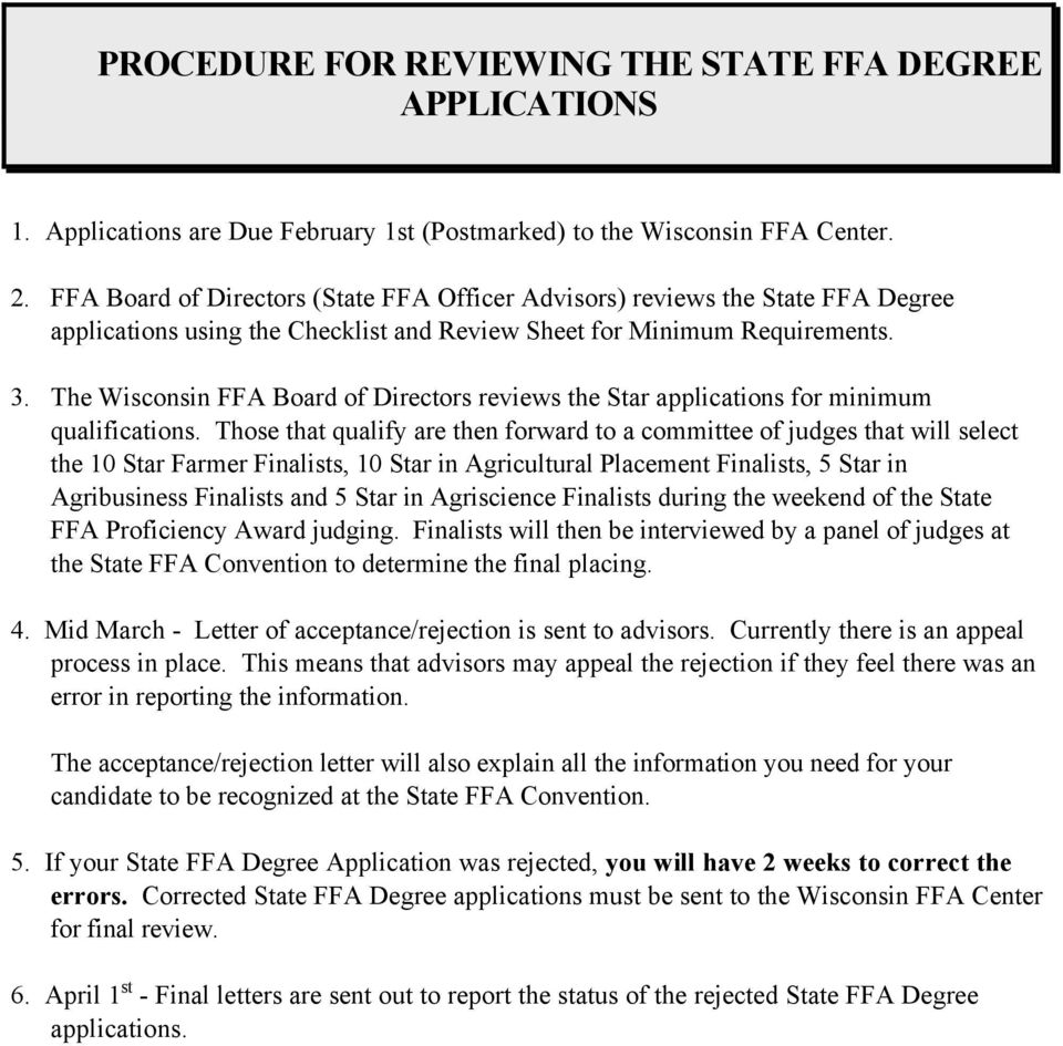 The Wisconsin FFA Board of Directors reviews the Star applications for minimum qualifications.