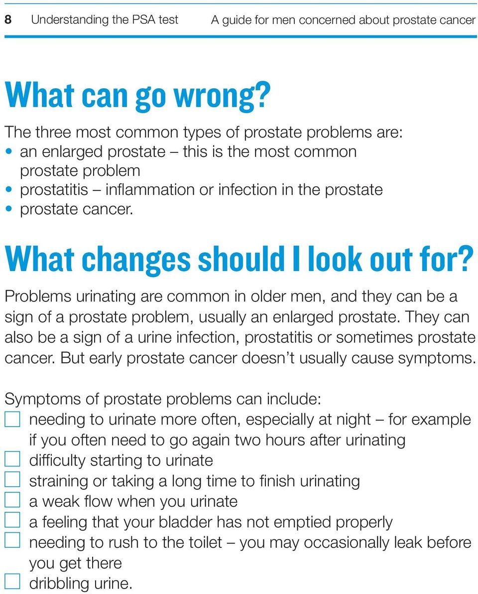 What changes should I look out for? Problems urinating are common in older men, and they can be a sign of a prostate problem, usually an enlarged prostate.