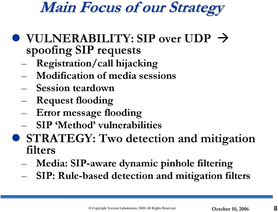 flooding Error message flooding SIP Method vulnerabilities STRATEGY: Two detection and