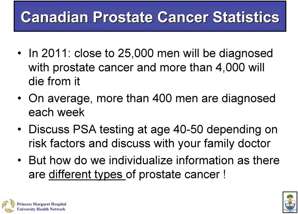 PSA testing at age 40-50 depending on risk factors and discuss with your family