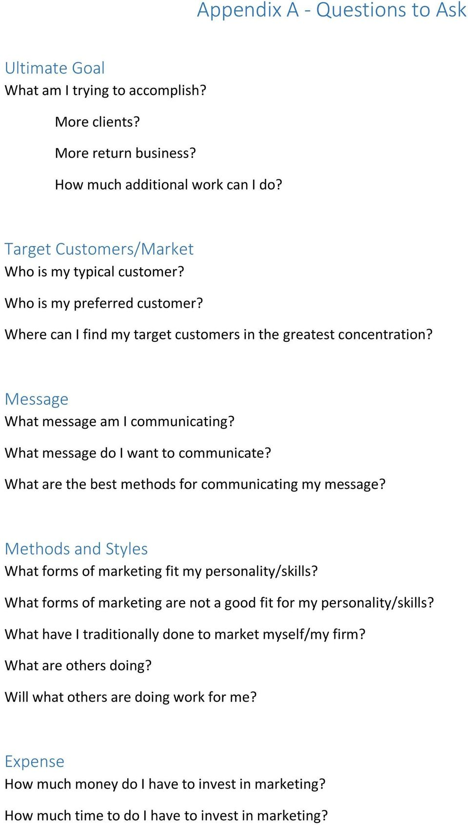 What are the best methods for communicating my message? Methods and Styles What forms of marketing fit my personality/skills? What forms of marketing are not a good fit for my personality/skills?