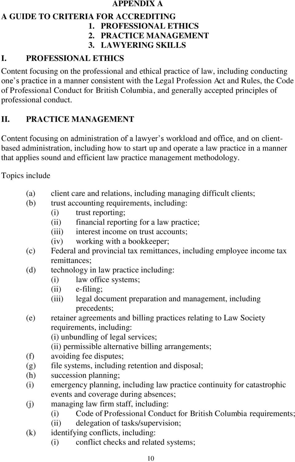 Professional Conduct for British Columbia, and generally accepted principles of professional conduct. II.