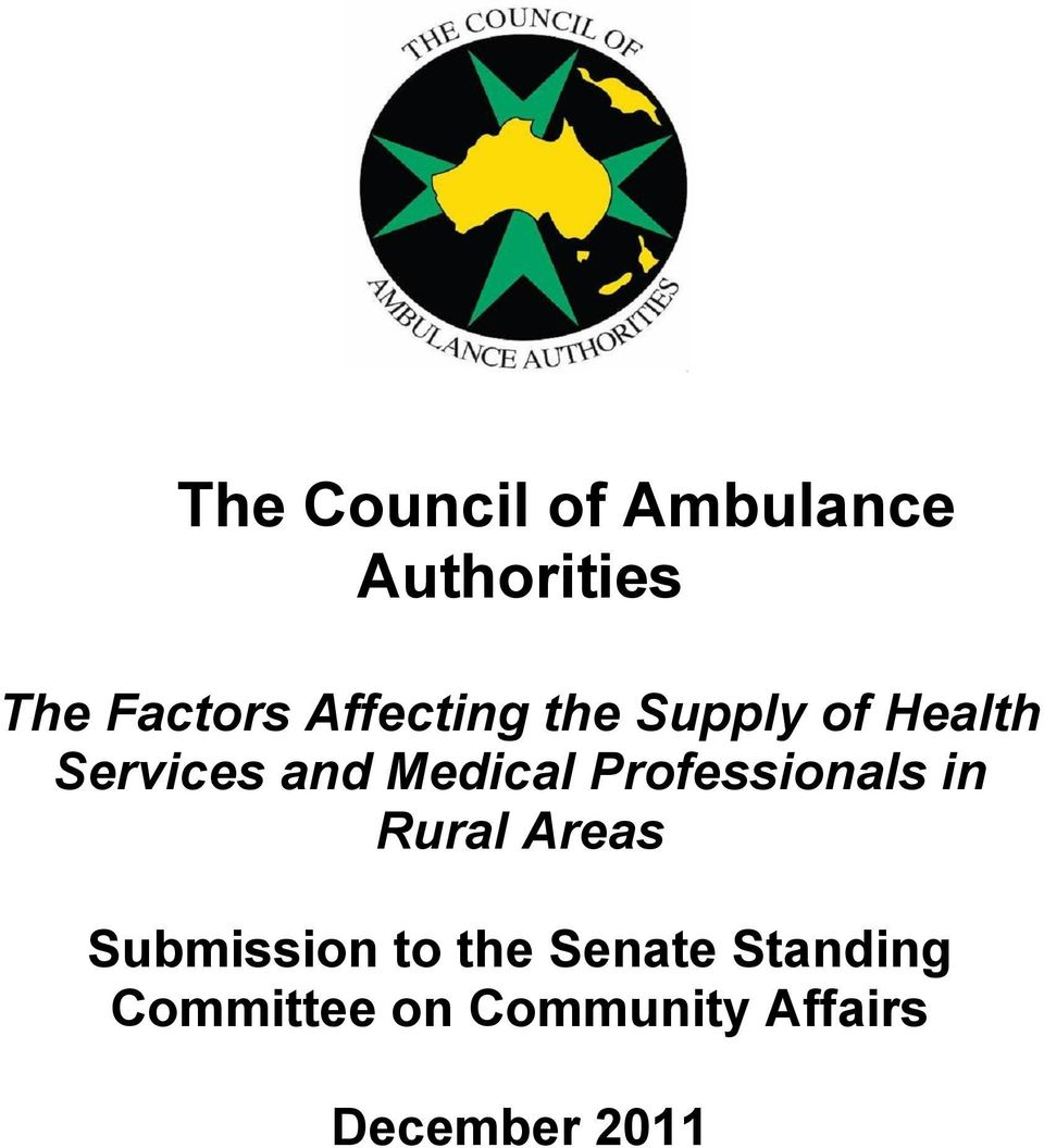 Medical Professionals in Rural Areas Submission
