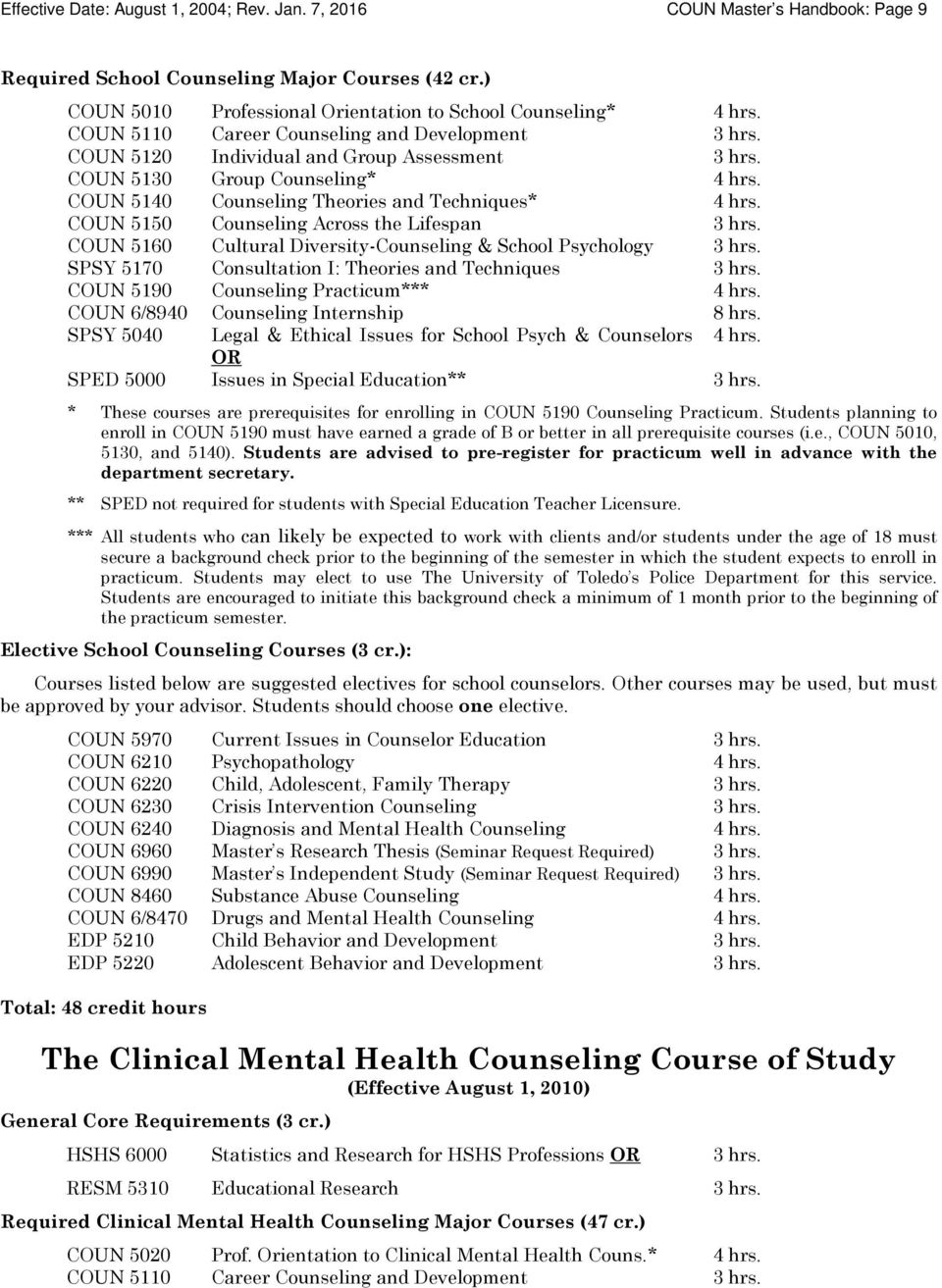 COUN 5150 Counseling Across the Lifespan 3 hrs. COUN 5160 Cultural Diversity-Counseling & School Psychology 3 hrs. SPSY 5170 Consultation I: Theories and Techniques 3 hrs.