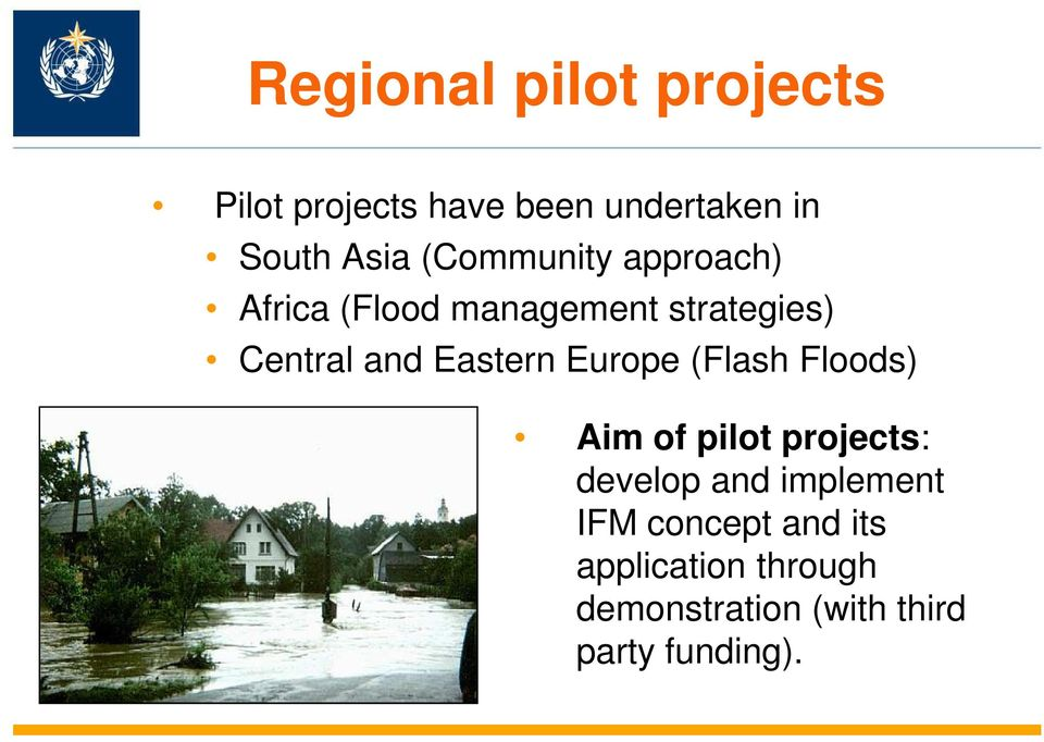 Eastern Europe (Flash Floods) Aim of pilot projects: develop and implement