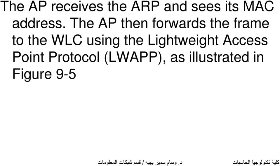 The AP then forwards the frame to the WLC
