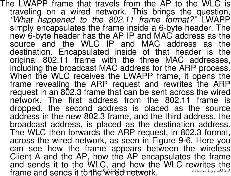 Encapsulated inside of that header is the original 802.11 frame with the three MAC addresses, including the broadcast MAC address for the ARP process.