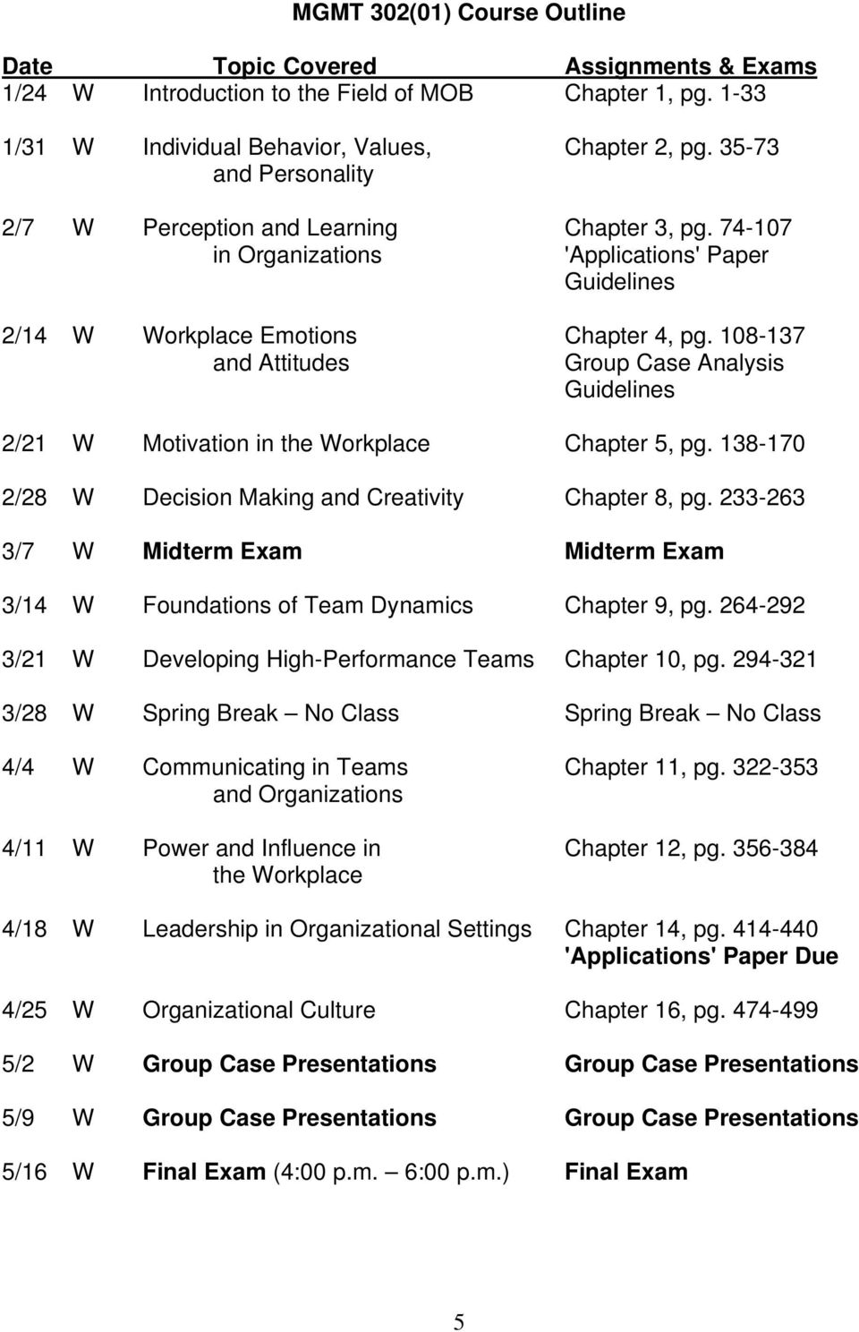 108-137 and Attitudes Group Case Analysis Guidelines 2/21 W Motivation in the Workplace Chapter 5, pg. 138-170 2/28 W Decision Making and Creativity Chapter 8, pg.