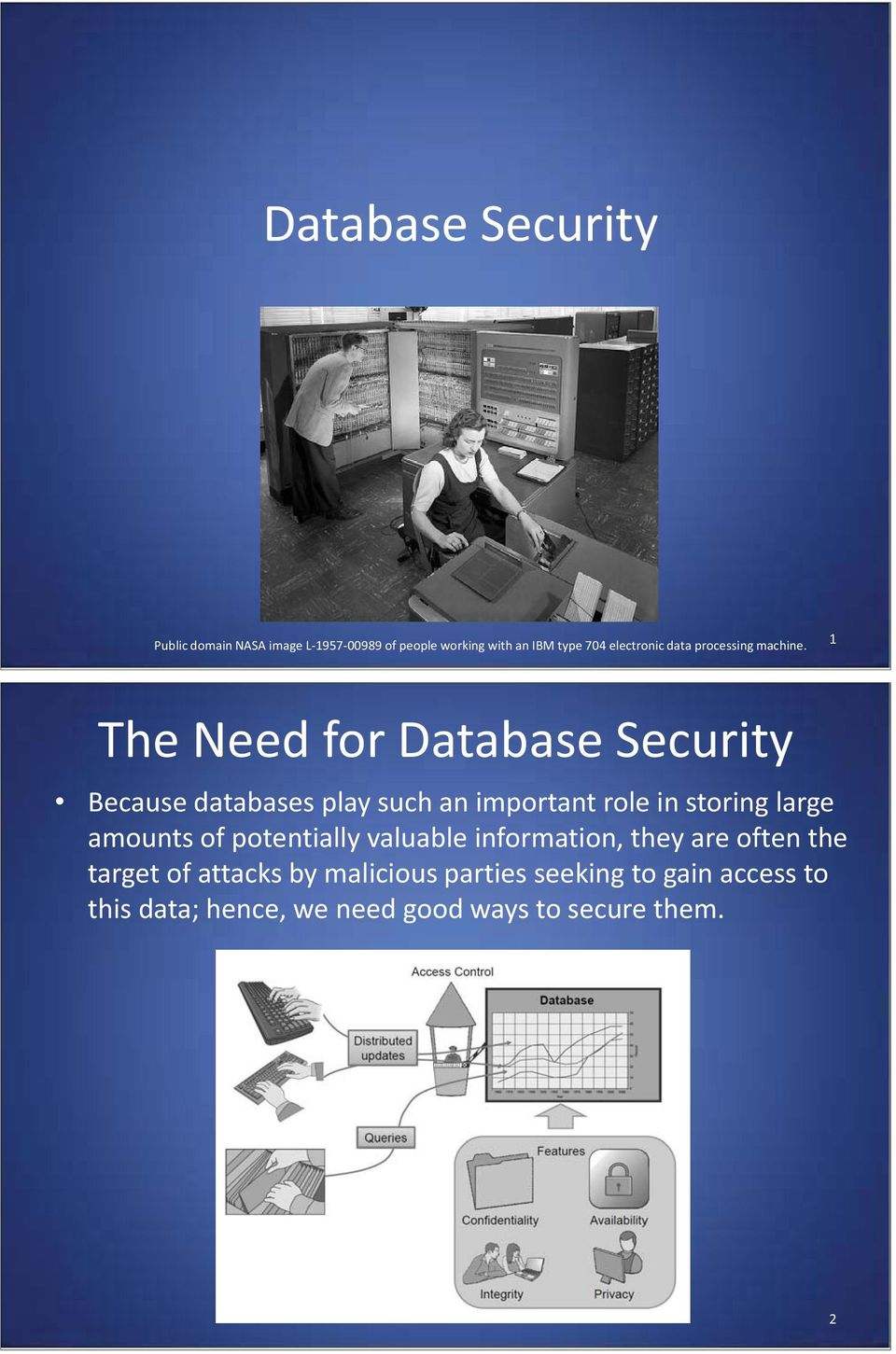 1 The Need for Database Security Because databases play such an important role in storing large