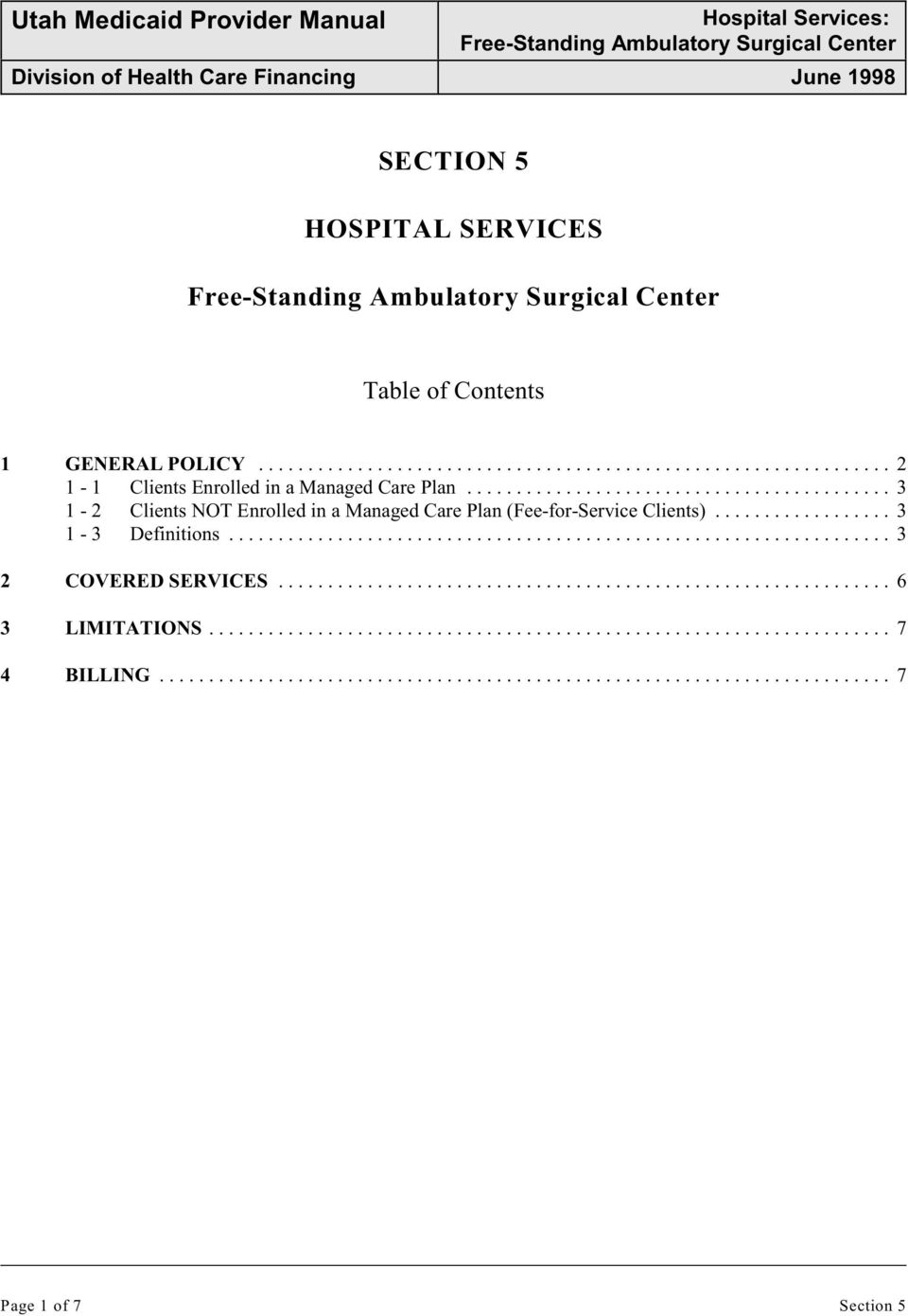 .. 3 1-2 Clients NOT Enrolled in a Managed Care Plan (Fee-for-Service Clients).