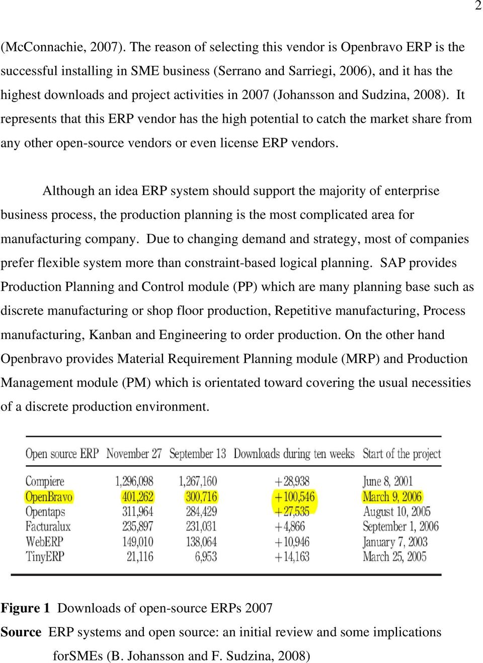 (Johansson and Sudzina, 2008). It represents that this ERP vendor has the high potential to catch the market share from any other open-source vendors or even license ERP vendors.