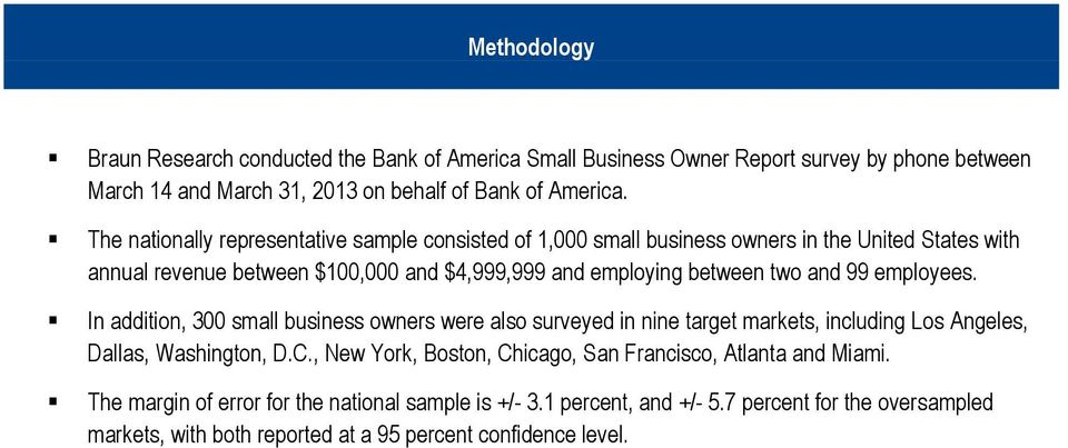 The nationally representative sample consisted of 1,000 small business owners in the United States with annual revenue between $100,000 and $4,999,999 and