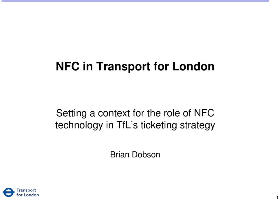 role of NFC technology in TfL