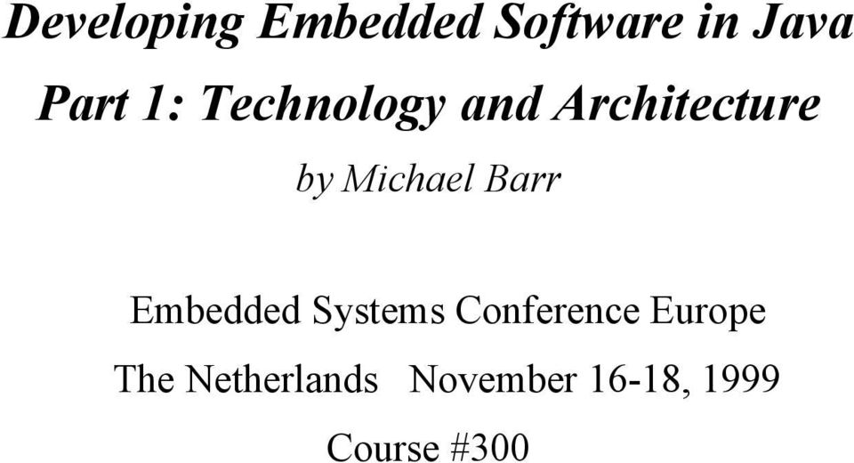 Barr Embedded Systems Conference Europe