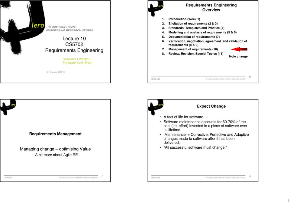 Verification, negotiation, agreement and validation of requirements (8 & 9) 7. Management of requirements (10) 8.