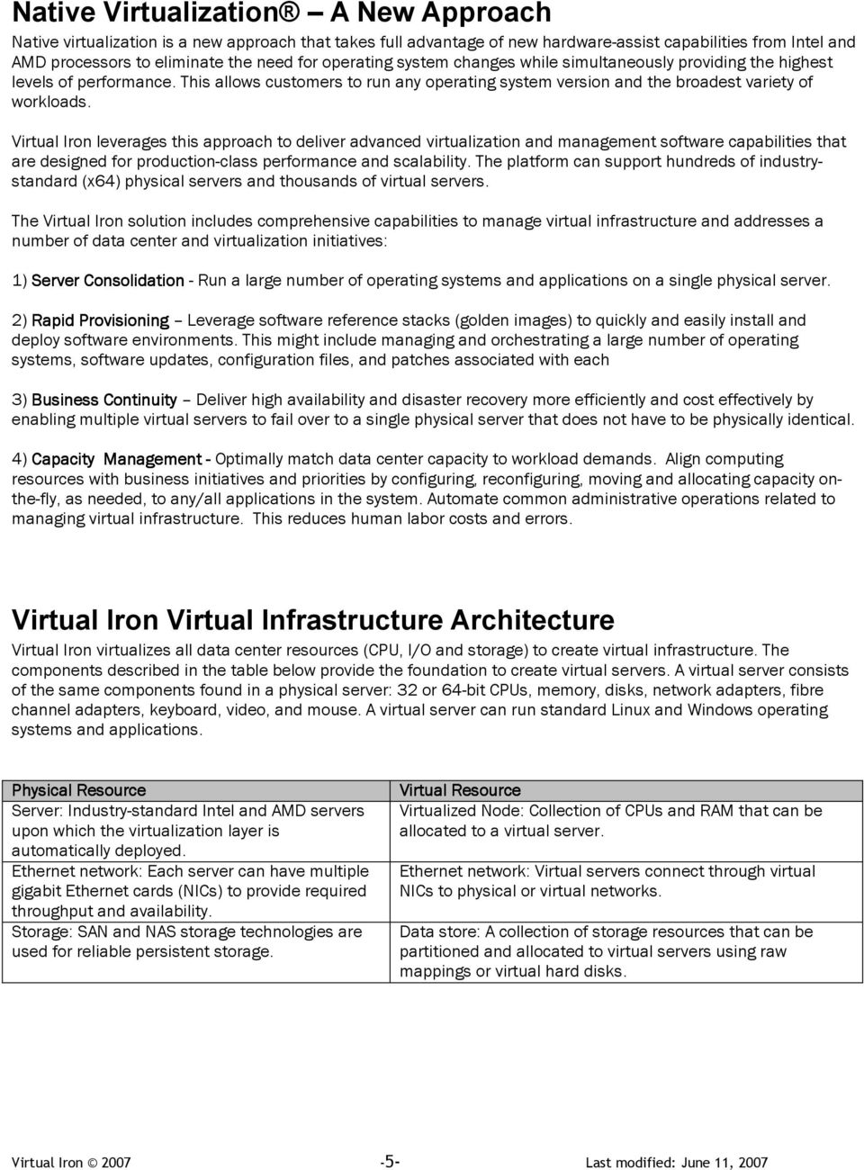 Virtual Iron leverages this approach to deliver advanced virtualization and management software capabilities that are designed for production-class performance and scalability.
