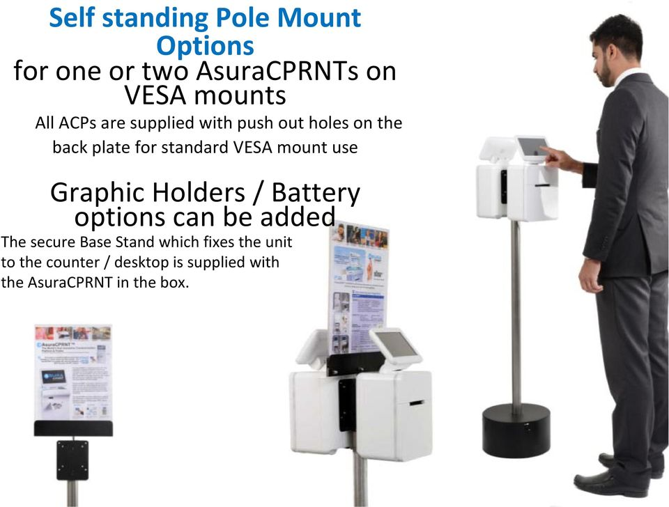 use Graphic Holders / Battery options can be added The secure Base Stand which