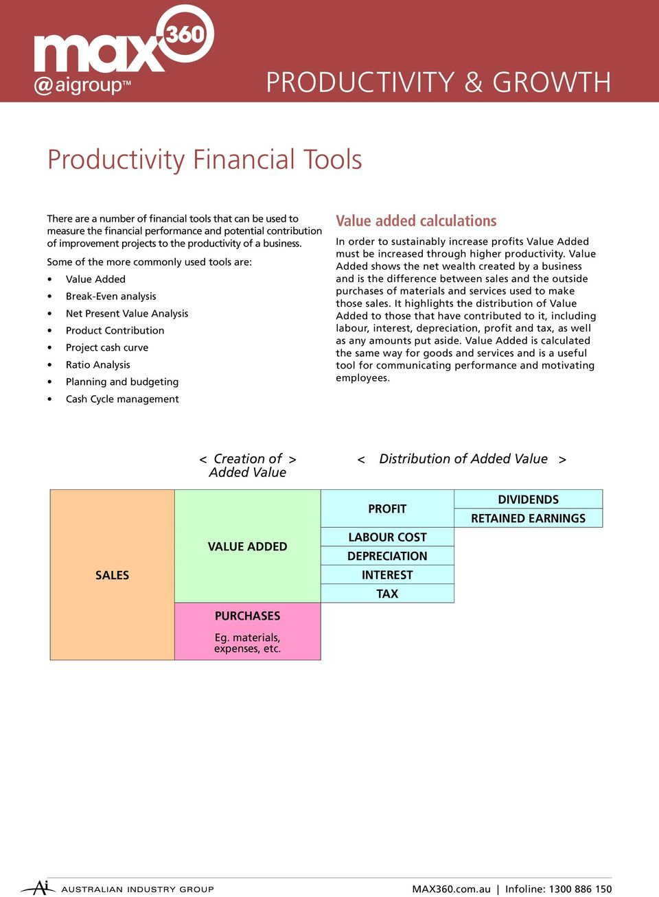 Some of the more commonly used tools are: Value Added Break-Even analysis Net Present Value Analysis Product Contribution Project cash curve Ratio Analysis Planning and budgeting Cash Cycle