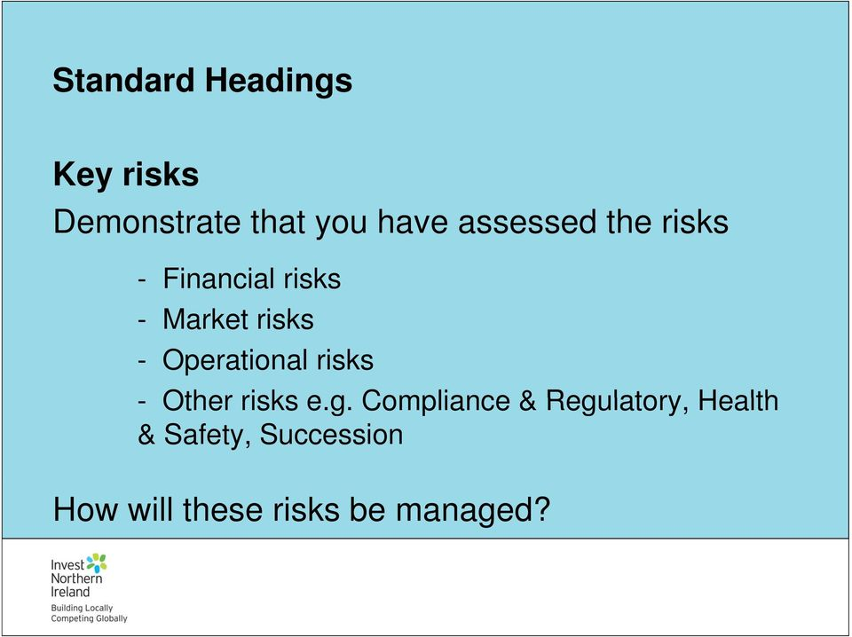 Operational risks - Other risks e.g.
