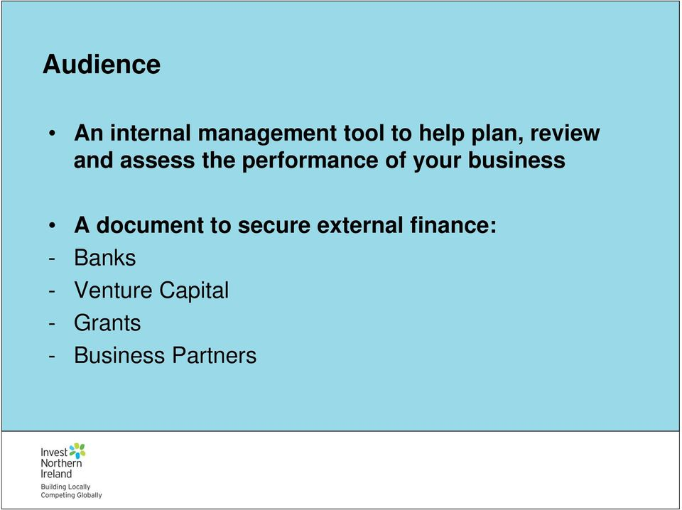 business A document to secure external finance: