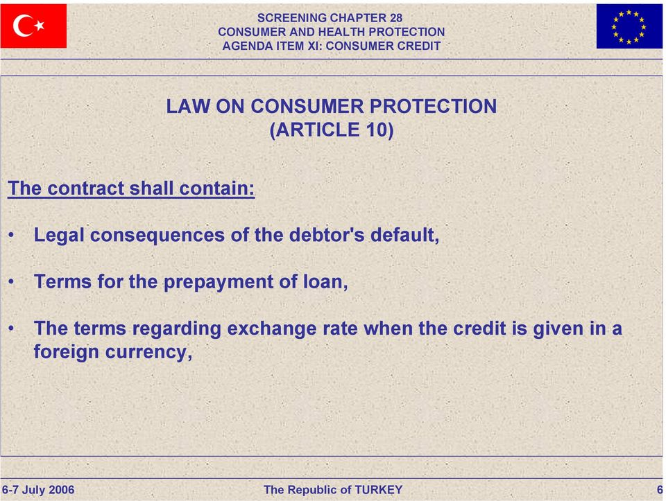 default, Terms for the prepayment of loan, The terms