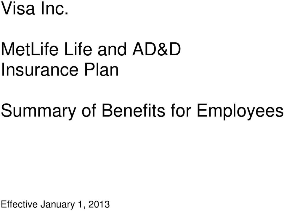 Insurance Plan Summary of