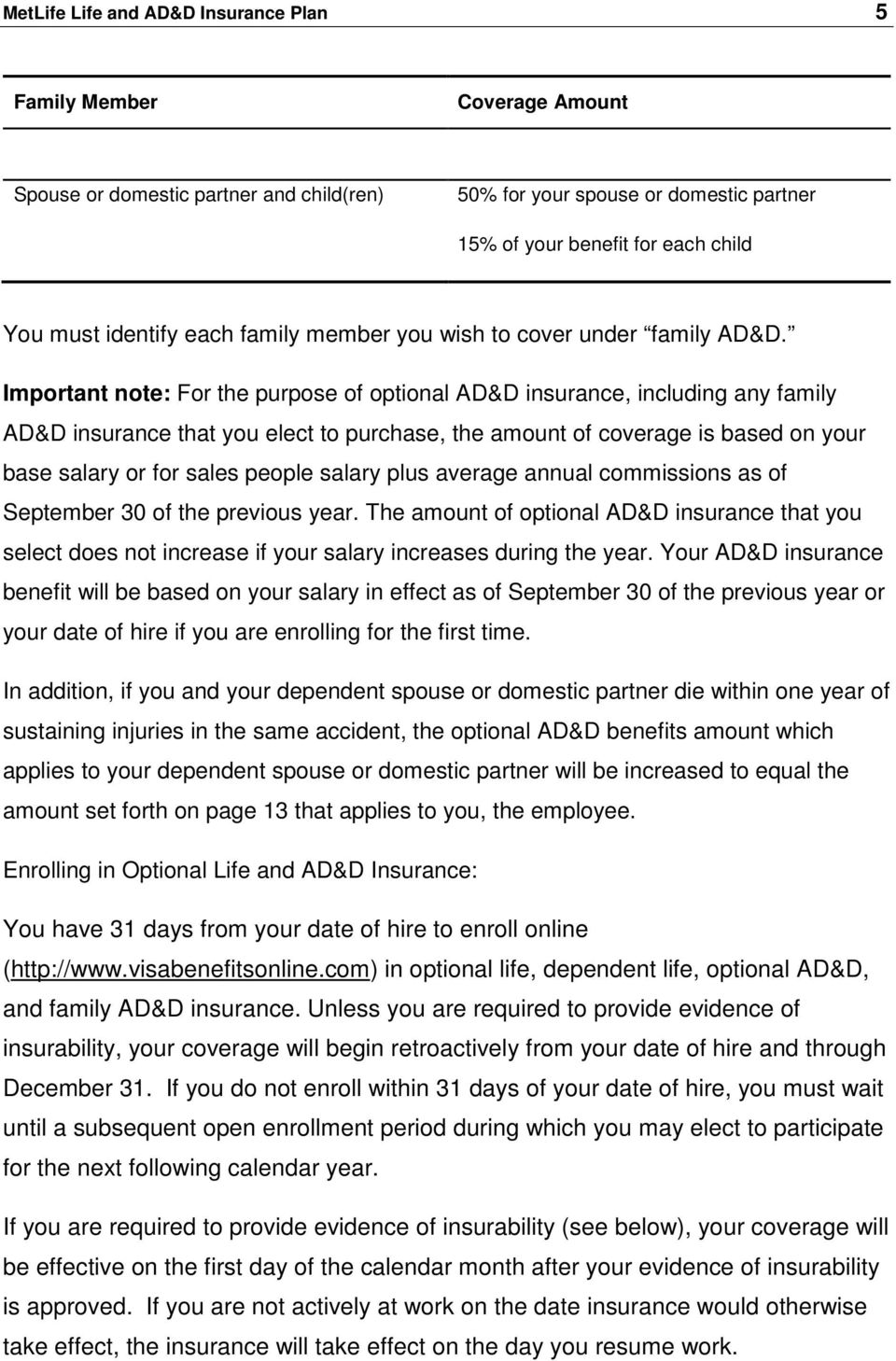 Important note: For the purpose of optional AD&D insurance, including any family AD&D insurance that you elect to purchase, the amount of coverage is based on your base salary or for sales people