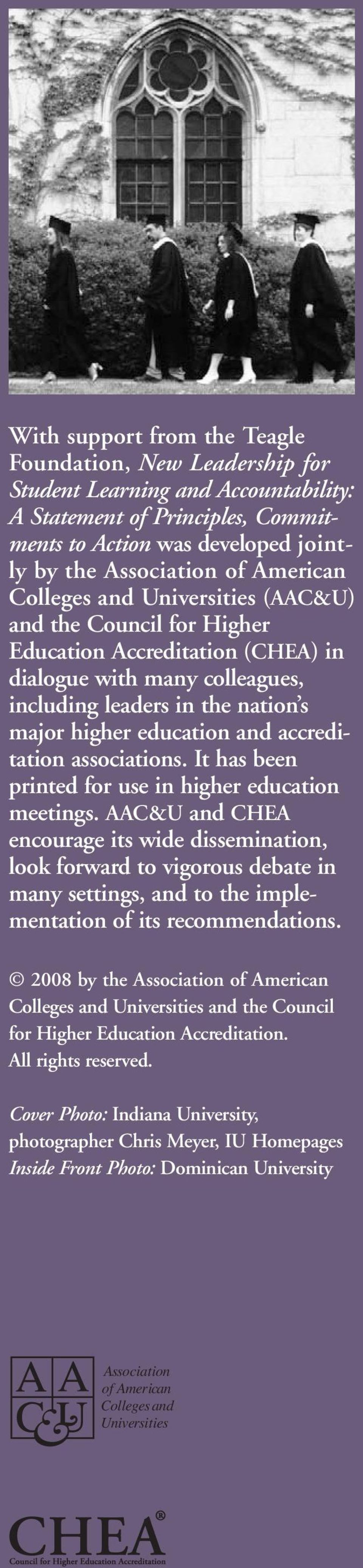 accreditation associations. It has been printed for use in higher education meetings.