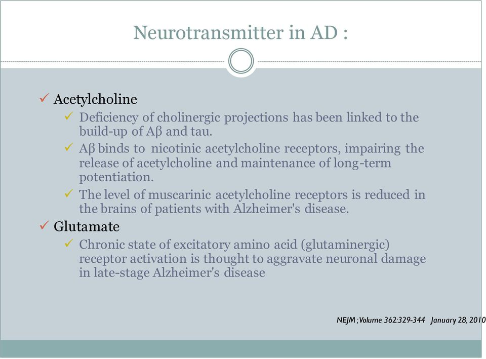 The level of muscarinic acetylcholine receptors is reduced in the brains of patients with Alzheimer's disease.