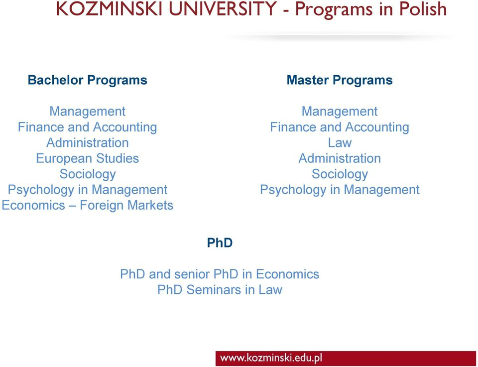 Economics Foreign Markets Master Programs Management Finance and Accounting Law