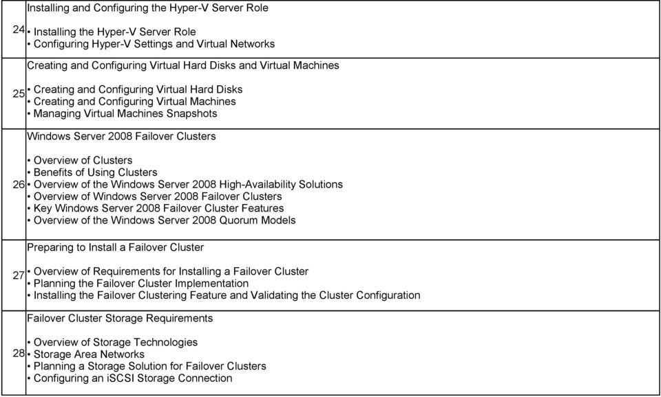 Benefits of Using Clusters 26 Overview of the Windows Server 2008 High-Availability Solutions Overview of Windows Server 2008 Failover Clusters Key Windows Server 2008 Failover Cluster Features
