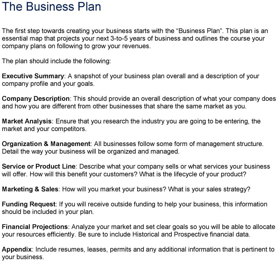 The plan should include the following: Executive Summary: A snapshot of your business plan overall and a description of your company profile and your goals.