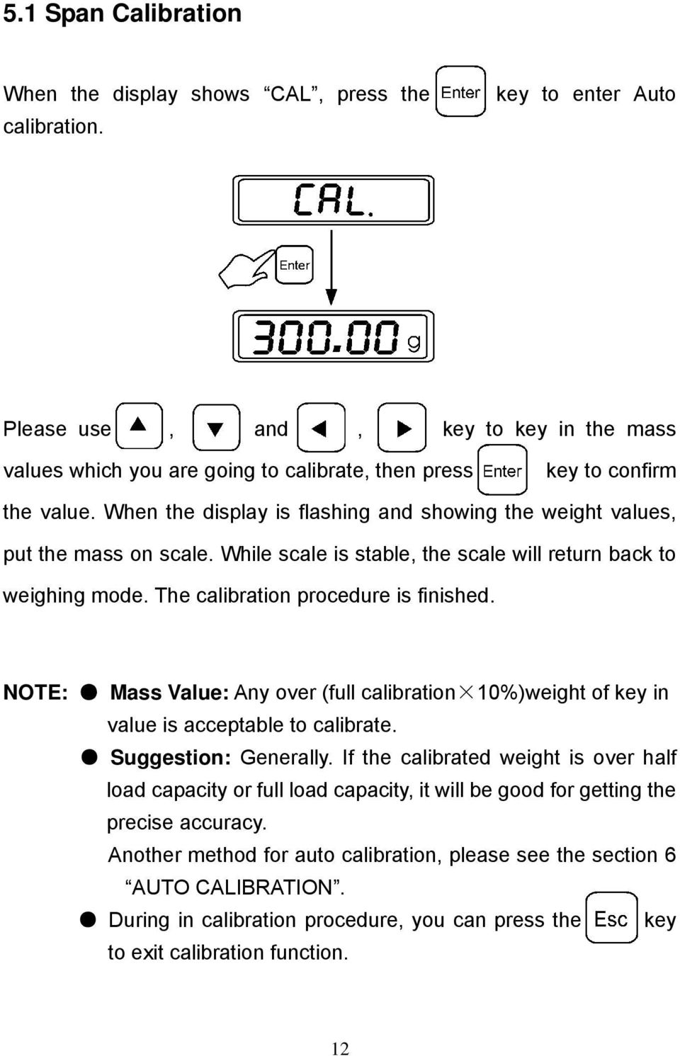 When the display is flashing and showing the weight values, put the mass on scale. While scale is stable, the scale will return back to weighing mode. The calibration procedure is finished.