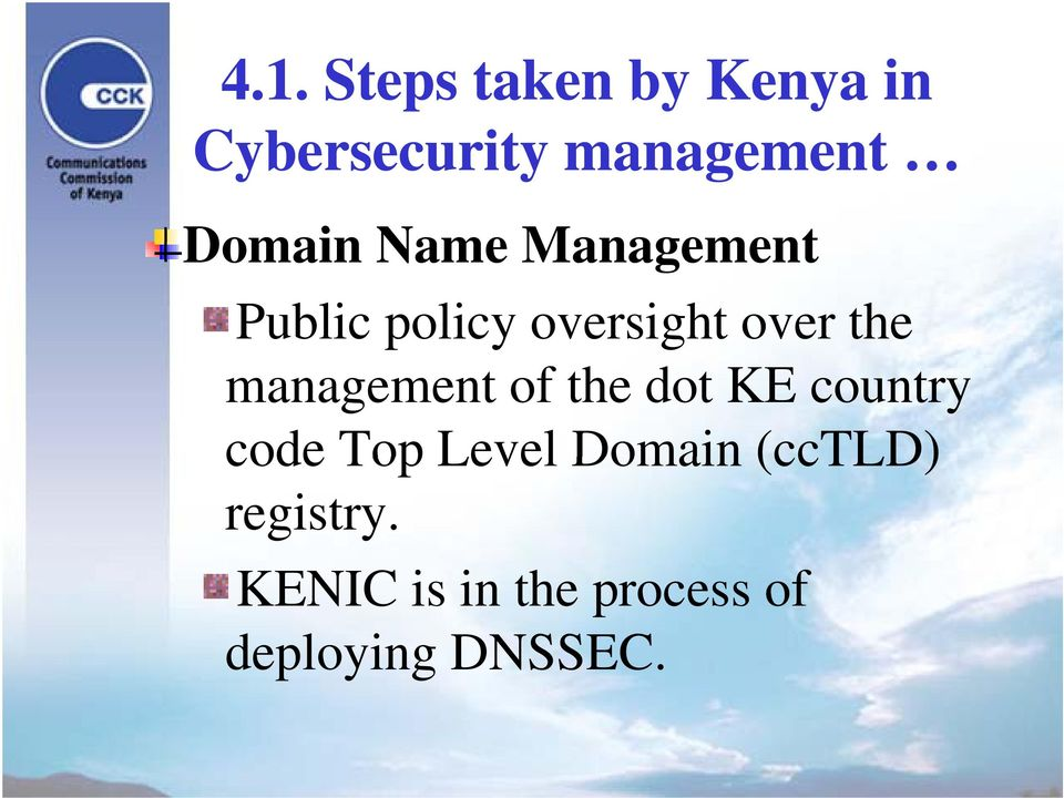 management of the dot KE country code Top Level Domain