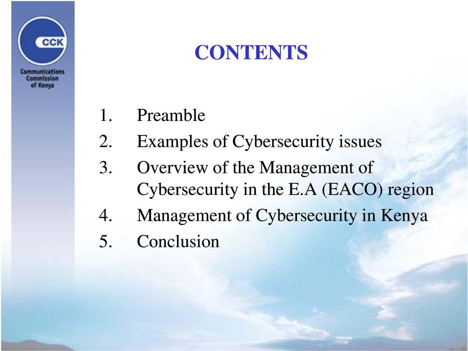 Overview of the Management of Cybersecurity