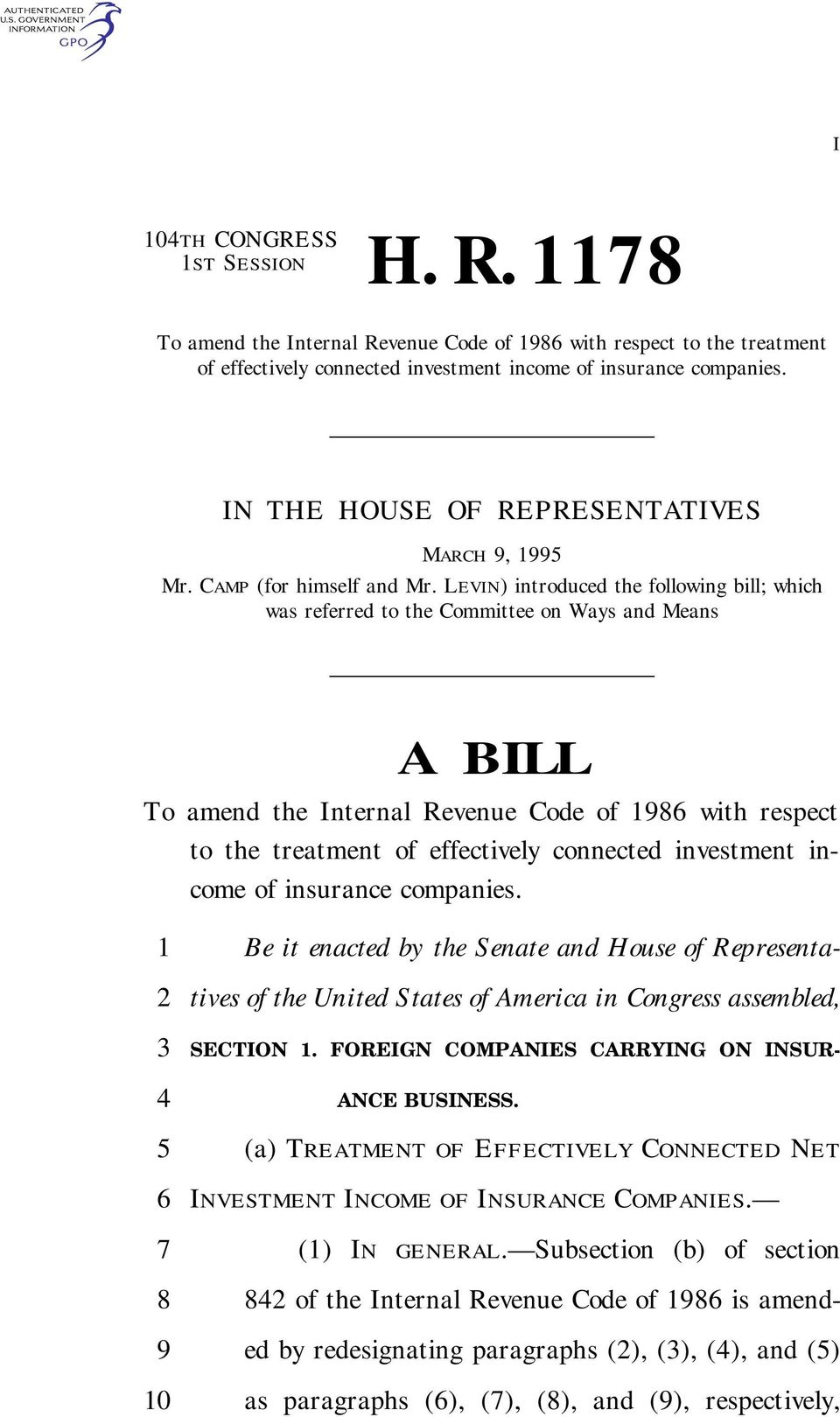LEVIN) introduced the following bill; which was referred to the Committee on Ways and Means A BILL To amend the Internal Revenue Code of 1 with respect to the treatment of effectively connected