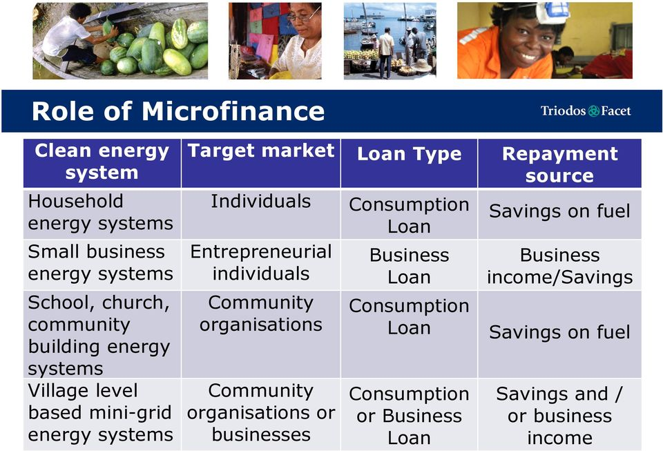 Consumption Savings on fuel Loan Entrepreneurial Business Business individuals Loan income/savings Community organisations