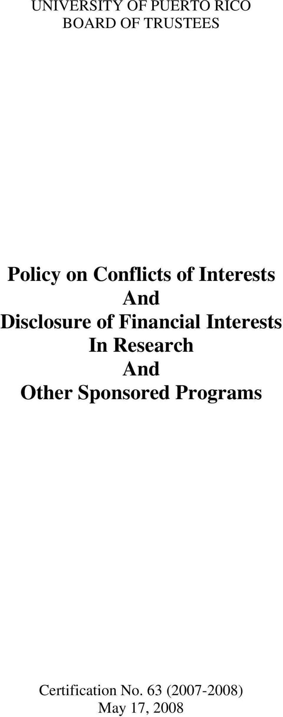 Financial Interests In Research And Other
