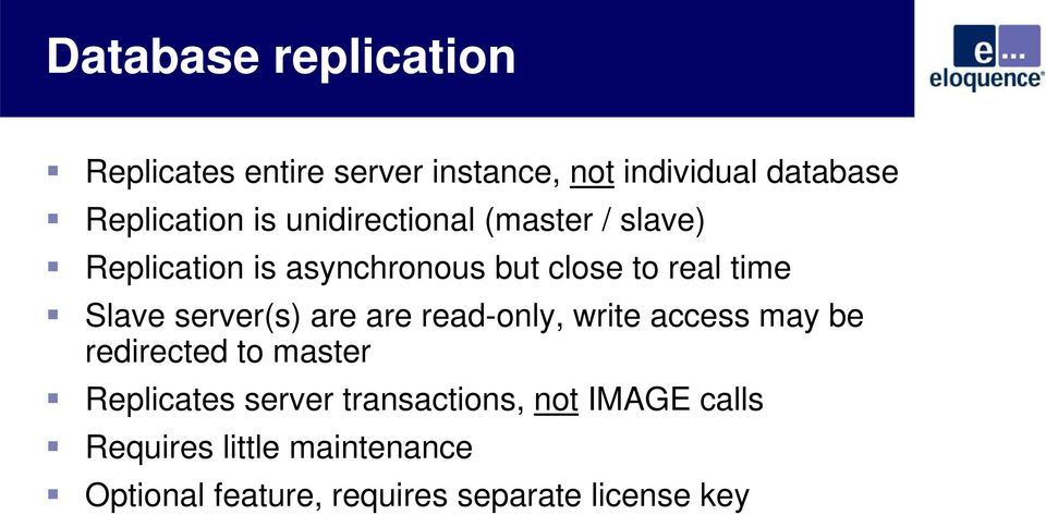server(s) are are read-only, write access may be redirected to master Replicates server