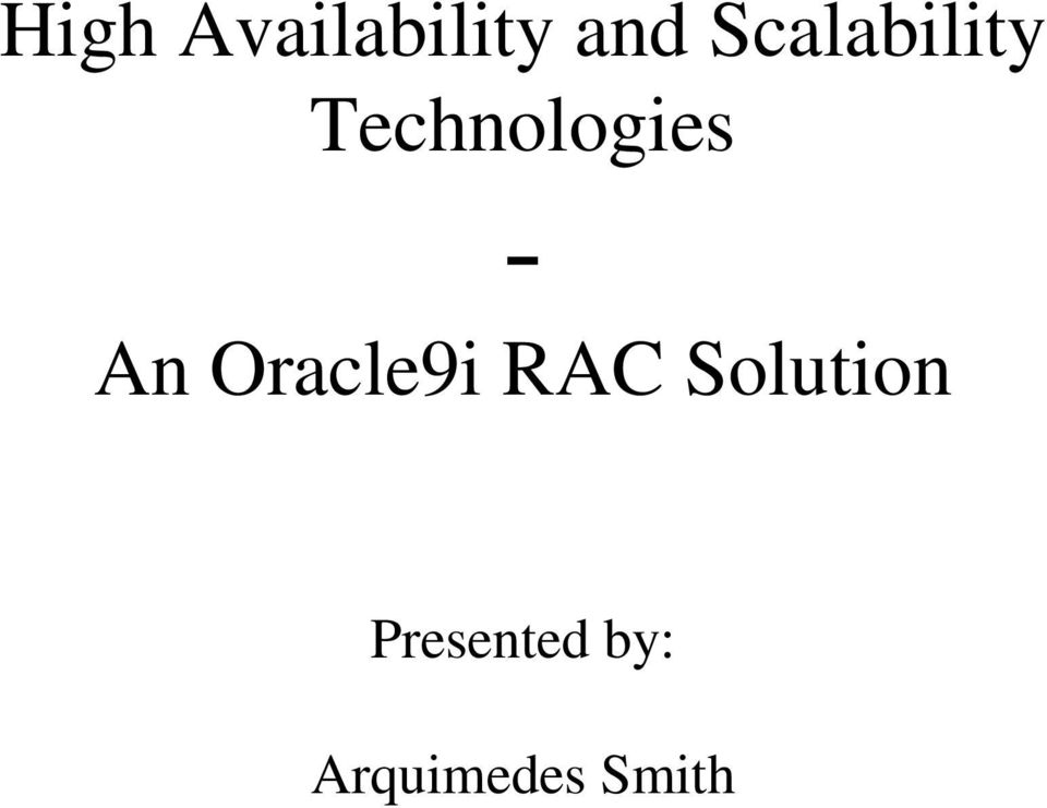 - An Oracle9i RAC