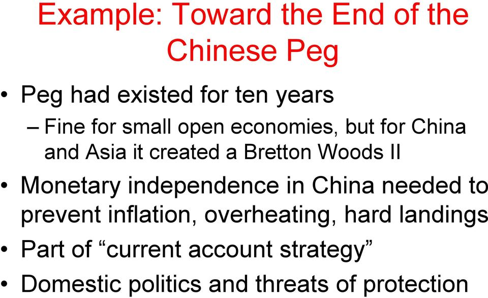 Monetary independence in China needed to prevent inflation, overheating, hard