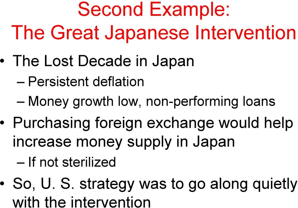 Purchasing foreign exchange would help increase money supply in Japan
