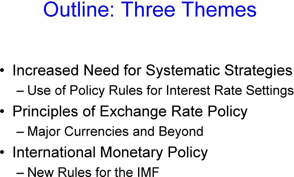 Settings Principles of Exchange Rate Policy Major