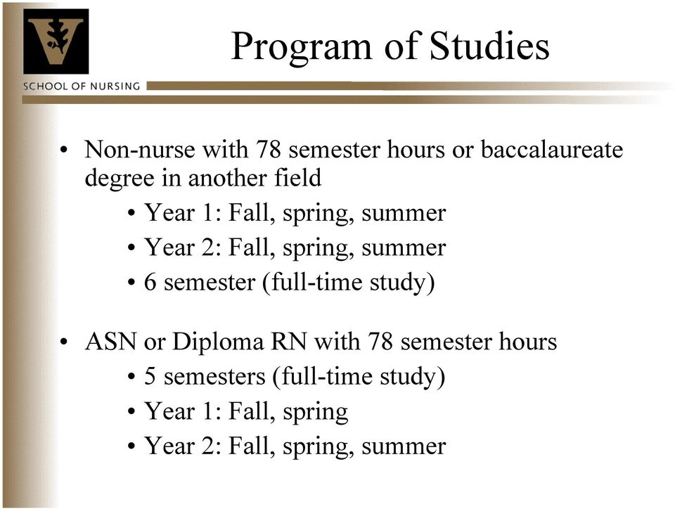 summer 6 semester (full-time study) ASN or Diploma RN with 78 semester
