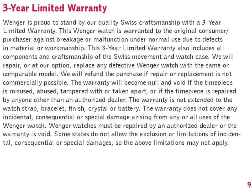 This 3-Year Limited Warranty also includes all components and craftsmanship of the Swiss movement and watch case.